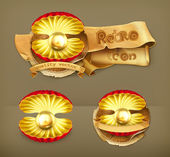 Pearl gold, retro vector icon — Stock Vector