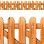 Wooden fence seamless border, vector illustration — Stock Vector
