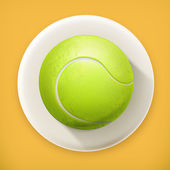 Tennis-ball, long shadow vector icon — Stock Vector