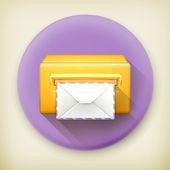 Post office, long shadow vector icon — Stock Vector