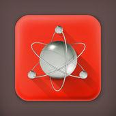 Atom, long shadow vector icon — Vecteur