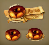 Ring donut in chocolate glaze, retro vector icon — Stock Vector