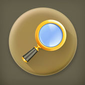Magnifying lens, long shadow vector icon — Stockvektor