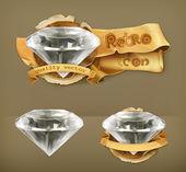 Diamond retro vector icon — Stock Vector