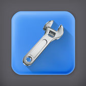 Adjustable wrench, long shadow vector icon — Vettoriale Stock