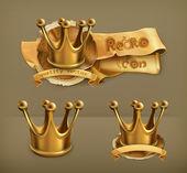 Corona d'oro, icona del vettore — Vettoriale Stock