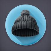 Beanie black cap, long shadow vector icon — Stock Vector