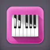 Teclas del piano octava, largo icono de vector de sombra — Vector de stock