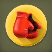 Guantes de boxeo rojos, largo icono de vector de sombra — Vector de stock