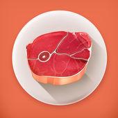 Steak meat, long shadow vector icon — Stock Vector