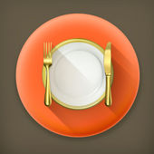 Gold dinner place setting long shadow vector icon — Stock Vector