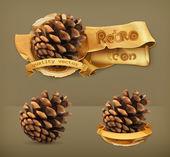 Pine cone, retro vector icon — Stock Vector