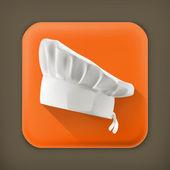 Chef hat, long shadow vector icon — Stock Vector