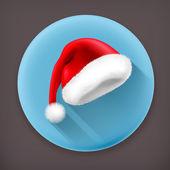 Santa Claus hat long shadow vector icon — Stock Vector