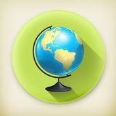 School globe, long shadow vector icon — Stock Vector