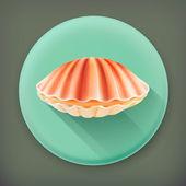 Seashell, long shadow vector icon — Stock Vector
