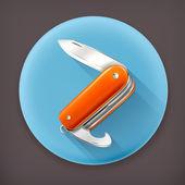 Pocket knife long shadow vector icon — Stock Vector