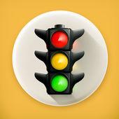 交通灯,长阴影矢量图标 — 图库矢量图片