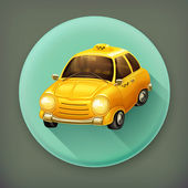 Taxi, long shadow vector icon — ストックベクタ