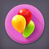 Toy balloons long shadow vector icon — Stock Vector