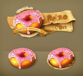 Glazed ring doughnut, retro vector icon — Stock Vector