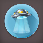 UFO, long shadow vector icon — Stock Vector