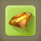 Amber yellow, long shadow vector icon — Stock Vector