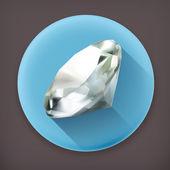 Diamond, long shadow vector icon — Stock Vector
