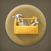 Wooden toolbox, long shadow vector icon — Stock Vector