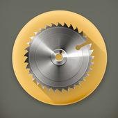 Circular saw blade, long shadow vector icon — Stock Vector
