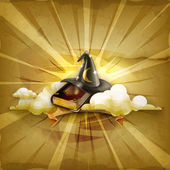 Wizard hat and old book, old style vector background — Vecteur