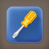 Screwdriver, long shadow vector icon — ストックベクタ