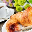 Breakfast with coffee, croissant and jam — Stock Photo