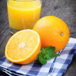 Glass of orange juice and fresh fruits — ストック写真