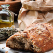 Rustic still-life with fresh bread — Stock Photo