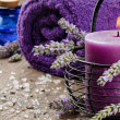 Spa setting in purple tone — Stock Photo