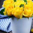 Yellow roses in a vase — Stock Photo