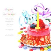 Kleurrijke verjaardagstaart — Stockfoto
