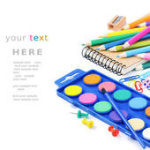 Barevné školní potřeby — Stock fotografie
