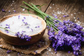 Sea salt and fresh lavender — Stock Photo
