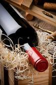 Fles rode wijn — Stockfoto