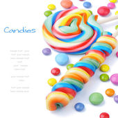 Colorful lollipops and smarties — Foto Stock