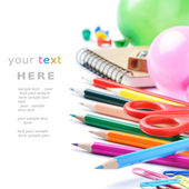 School stationery isolated over white — Stock Photo