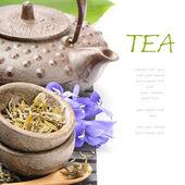 Ensemble de thé asiatique avec des fleurs — Photo
