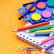 Stock Photo: Colorful school supplies