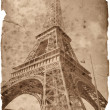 Vintage style Eiffel tower card - Stock Photo