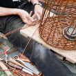 Making a wicker basket — Stock Photo