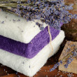 Natural soap, towels and lavender - Stock Photo
