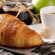 Breakfast with coffee, croissant and jam — Stock Photo #12727946