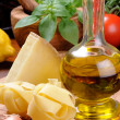 Fresh ingredients for Italian cuisine - Stock Photo